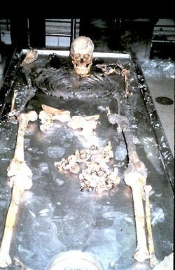 Skeletal remains of a victim found in John Wayne Gacy's basement. very heartbreaking.