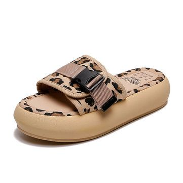 Sandals And Slippers Women's New Leopard Thick Bottom Wear Casual Slippers Female Increase Students Beach Shoes #sandals #slippers #women's #new #leopard #thick #bottom #wear #casual #female #increase #students #beach #shoes #newchic