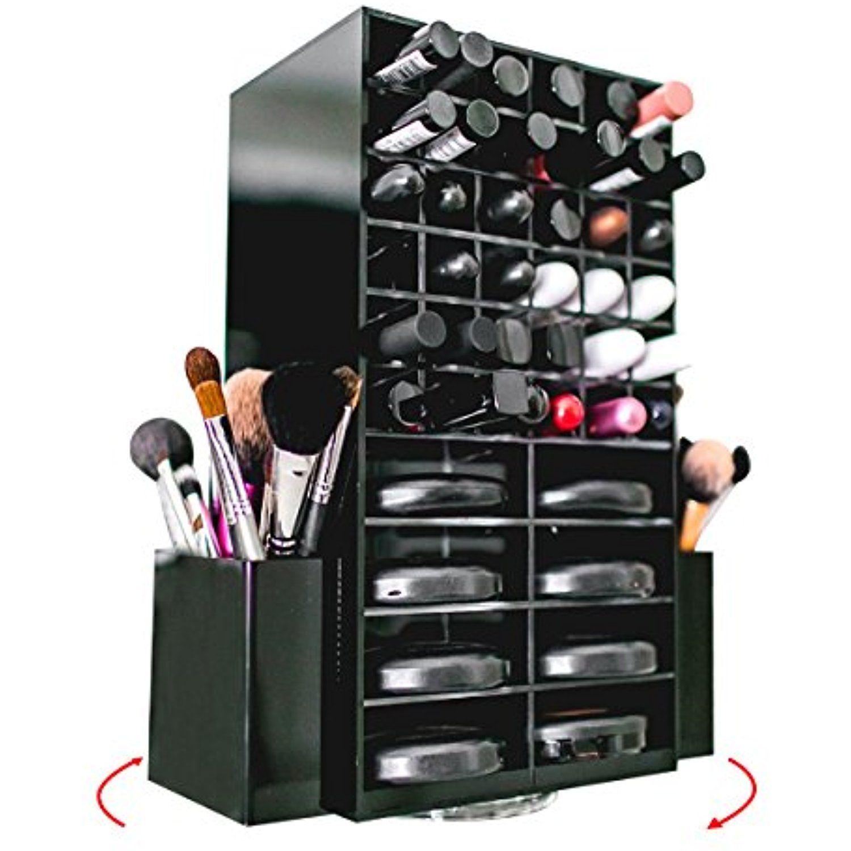 Spinning Acrylic Makeup Organizer Holds 72 Lipstick