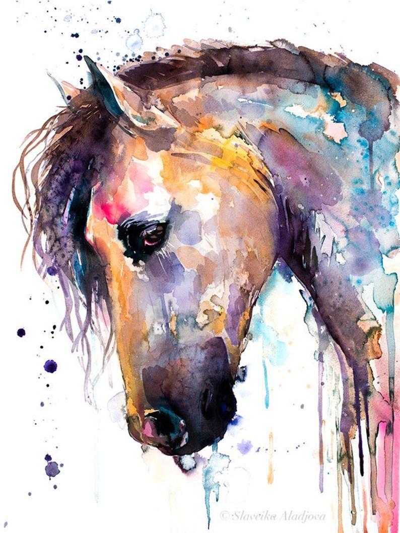 Beautiful Horse watercolor painting print by Slaveika Aladjova, animal art, illustration,wall art, home decor, wildlife, gift, Giclee Print