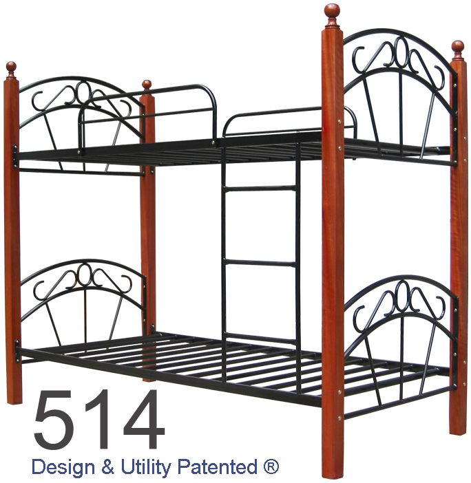 Steel Double Deck with Solid Wood Posts | Bed Frames | Pinterest ...