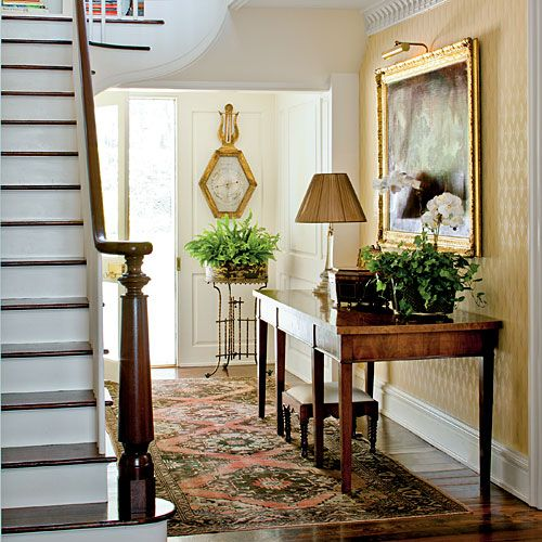 How to decorate your foyer southern living foyers and for Traditional foyer decorating ideas