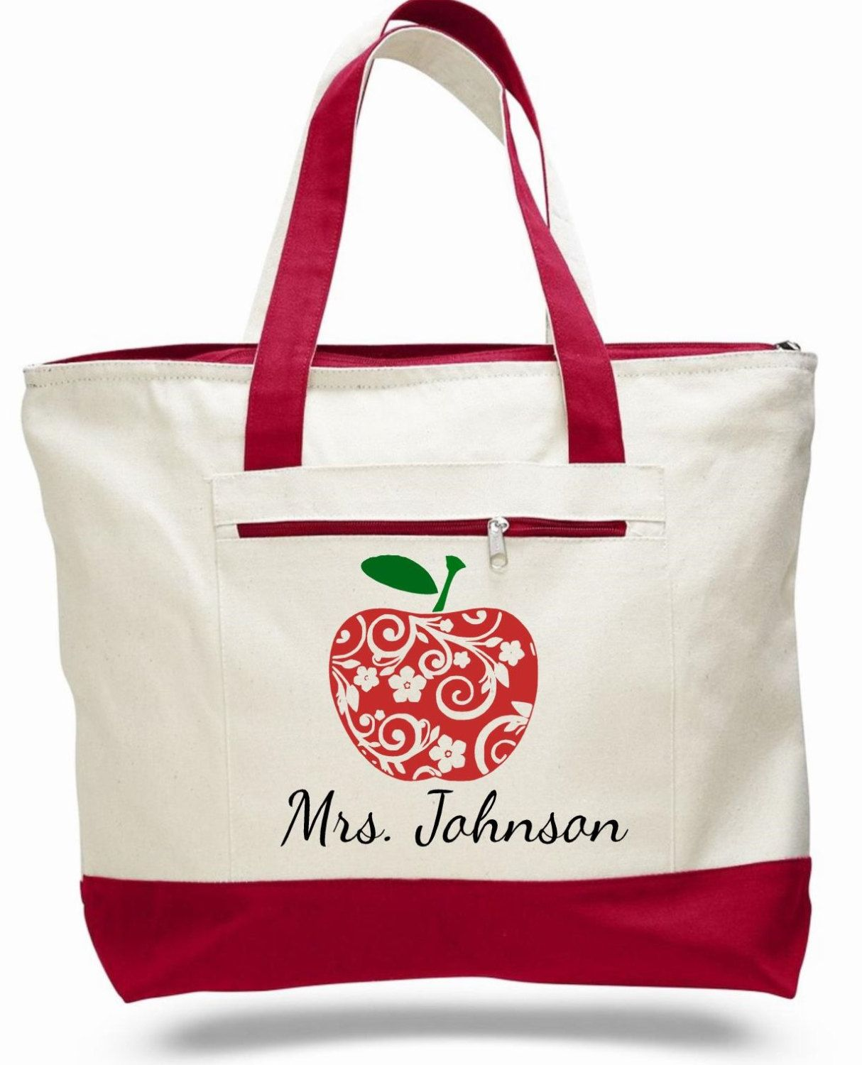 Teacher Bag Tote Le Personalized Name School Gift Canvas Zippered By Elainescrafts On