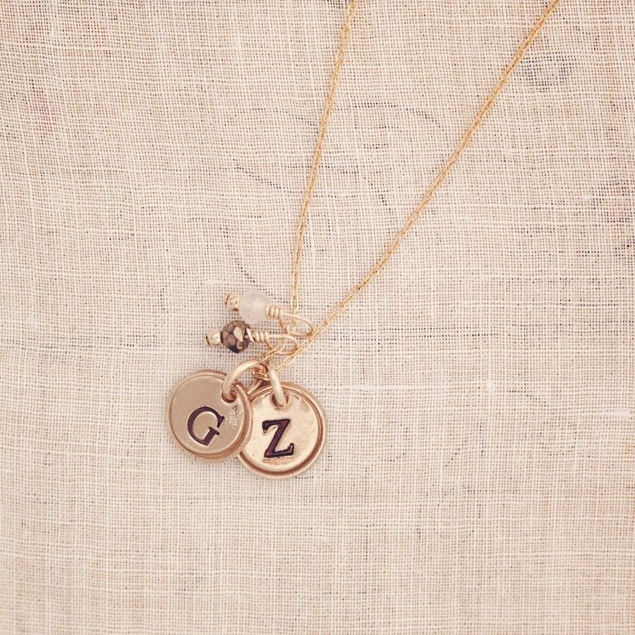 Petite Doubloon Tiny Initial Necklace Three sisters jewelry