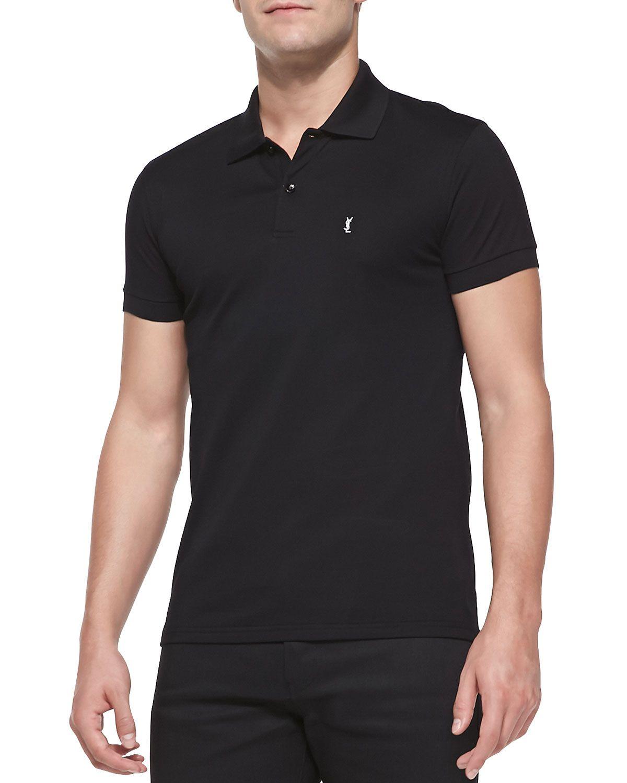 Saint Laurent Pique Logo Polo, Black. Top DesignersYves Saint LaurentNeiman  MarcusSaintsClothingFree ...