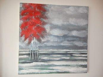 red tree - in Öl