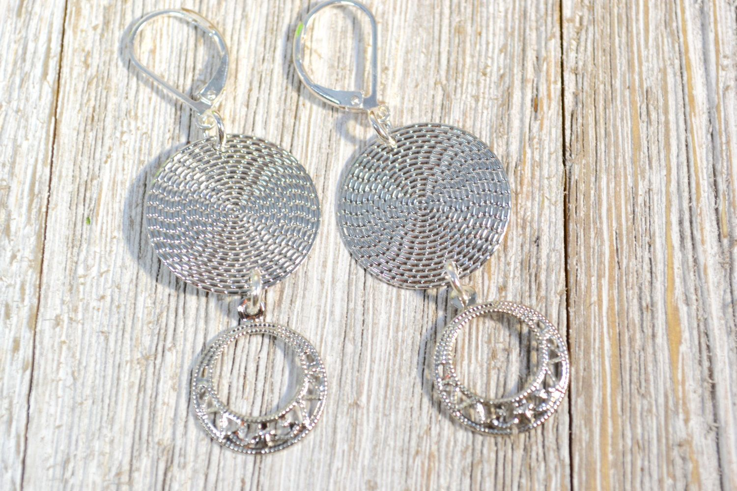 Textured Silver Coin Drop Earring, Silver Disc Drop Earrings, Modern Minimal Earrings, Small Disc Earring Christmas Gift for BFF- Girlfriend by ESBeadworks on Etsy