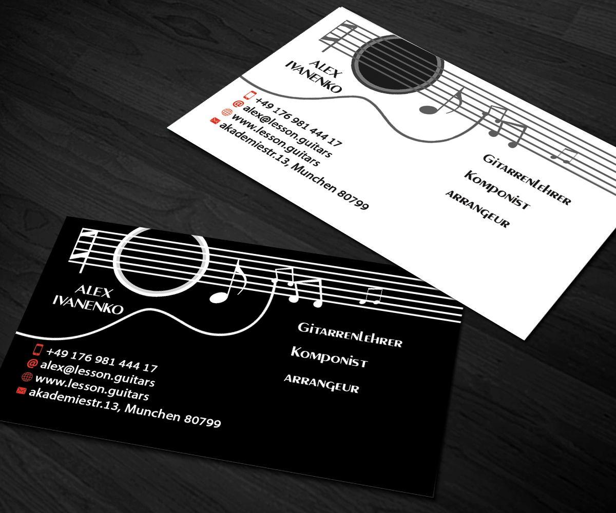 The Marvellous Business Card Design Sanrell For Guitar Teacher And Regarding Busines Teacher Business Cards Music Business Cards Graphic Design Business Card