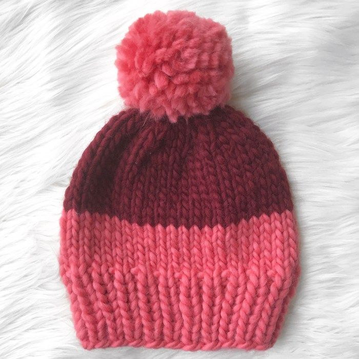 Two-Tone Chunky Beanie | Knitted hats kids, Baby hats ...