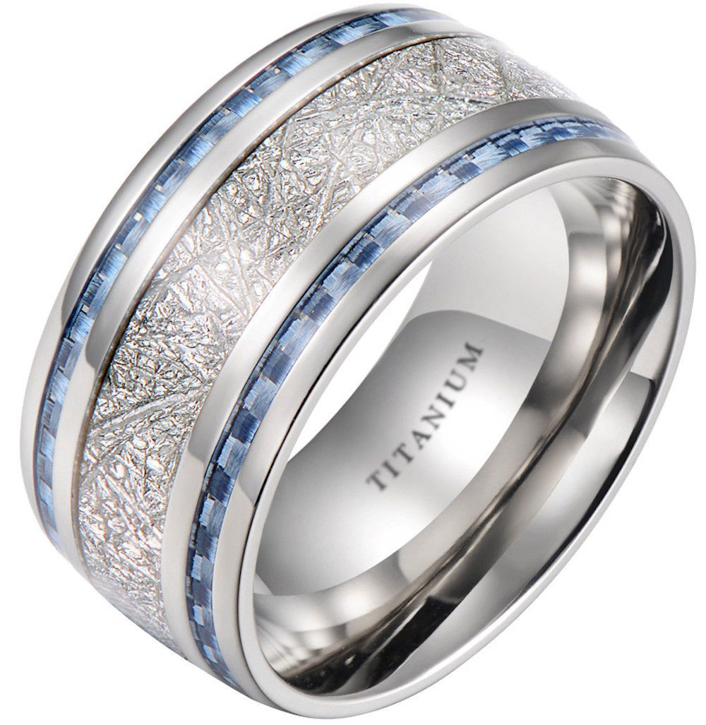 Mens 10Mm Meteorite Inlay Titanium Wedding Band Ring With