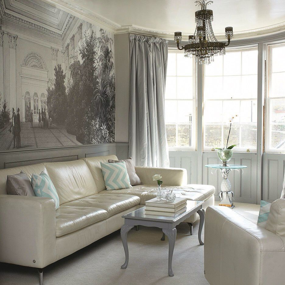 Awesome Curtain Ideas For Bay Window Living Room Eclectic: Cool Mural And Bay Window Treatments