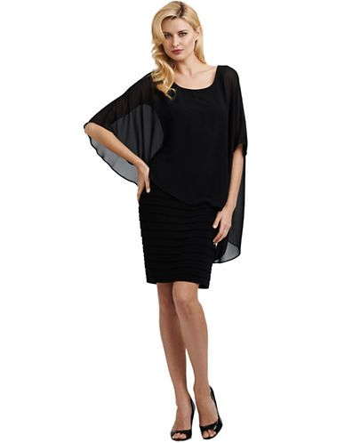 1d6b0972076 ADRIANNA PAPELL Chiffon Drape Overlay Dress - BLACK - Women s Apparel Deals