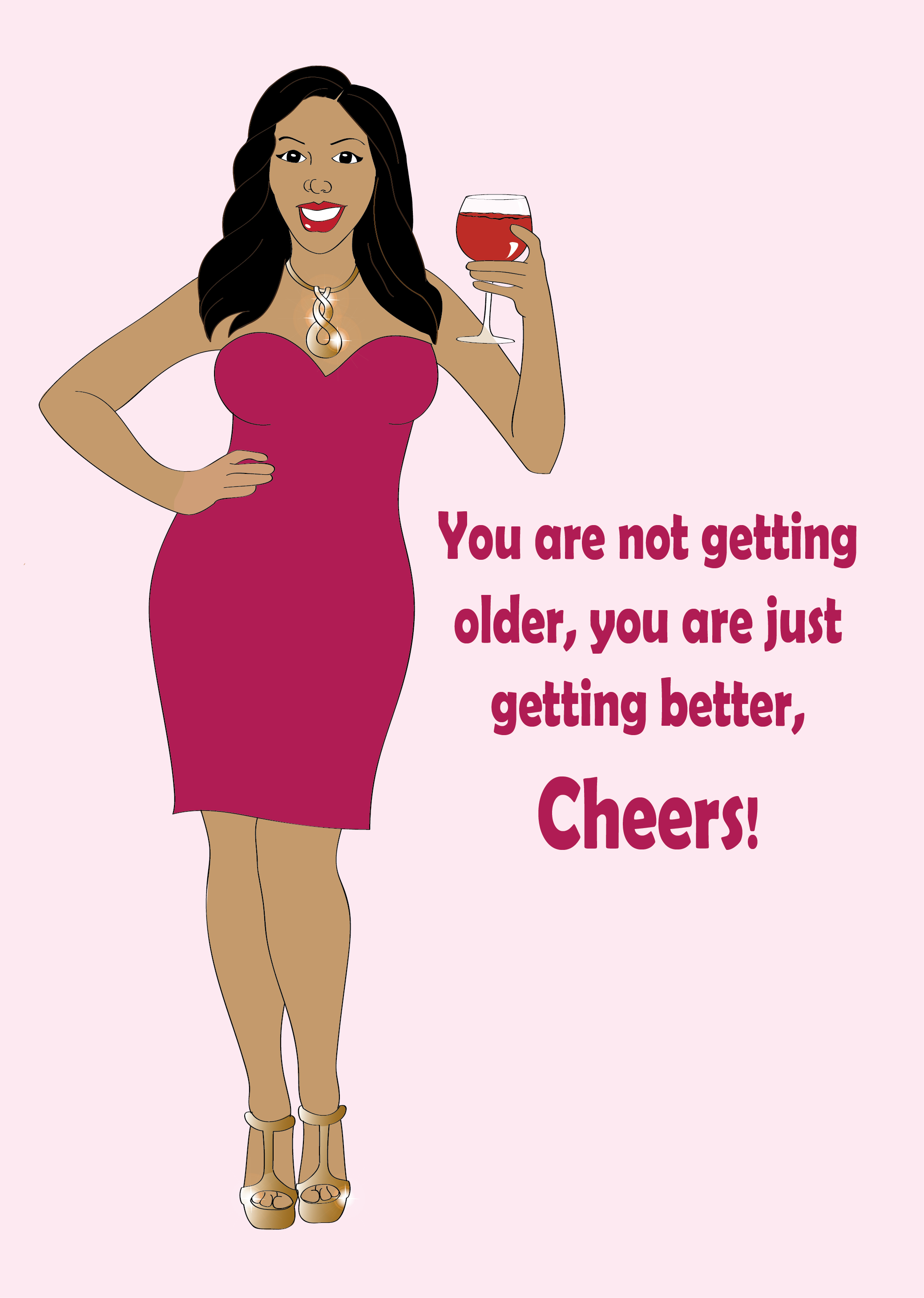 Birthday Greeting Card For Women Beautiful Black Woman Wearing A Pink Dress And Having Glass Of Wine