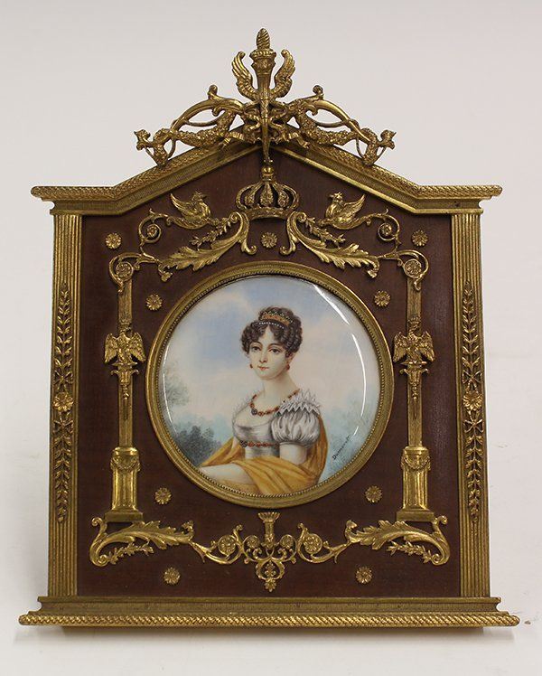 Framed porcelain miniature plaque depicting Hortense : Lot 2039A