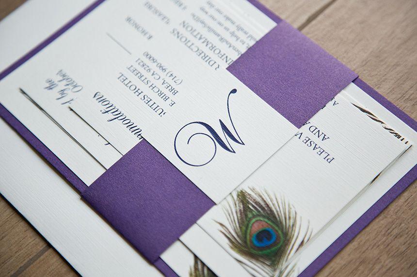 Monogrammed Peacock Wedding Invitations Monogrammed Peacock Wedding