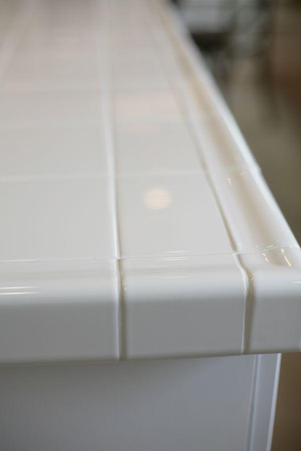 white tile kitchen countertop