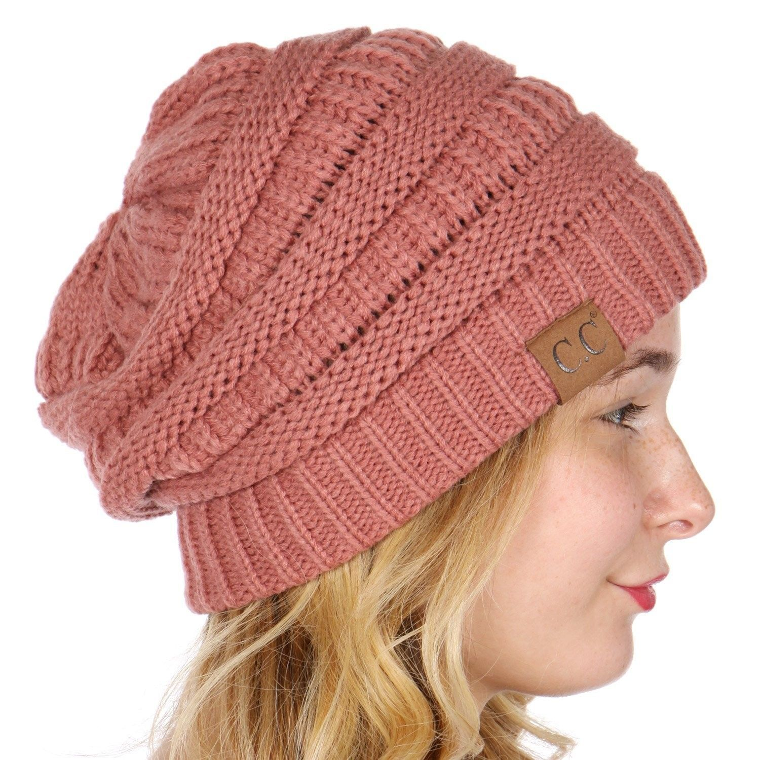 435844cf8ec C.C Unisex Soft Stretch Thick Slouchy Knit Oversized Beanie Cap Hat - Mauve  - CS187C2WCIE - Hats   Caps