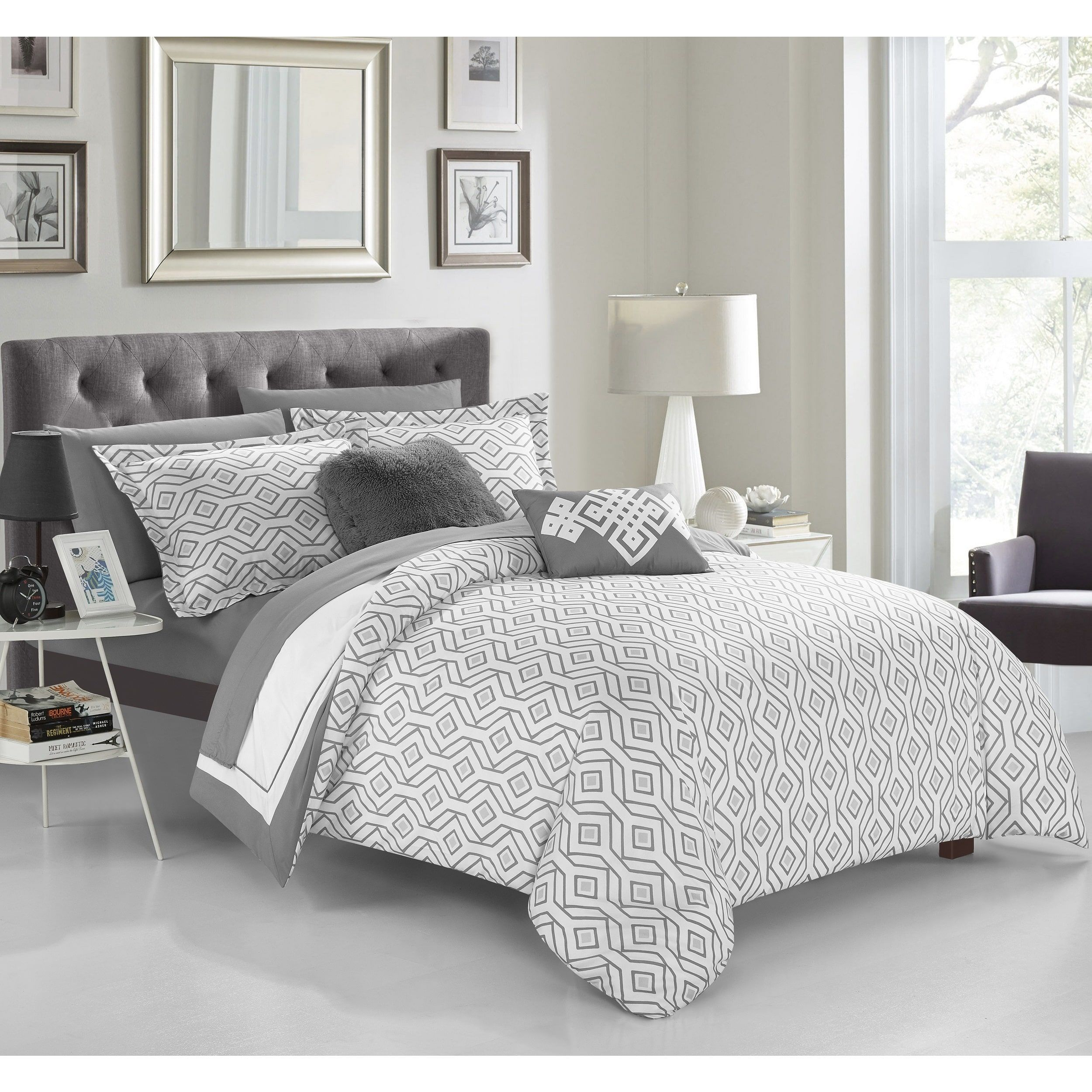 Chic Home Grey 9 Piece Complete Bed In A Bag Reversible Comforter