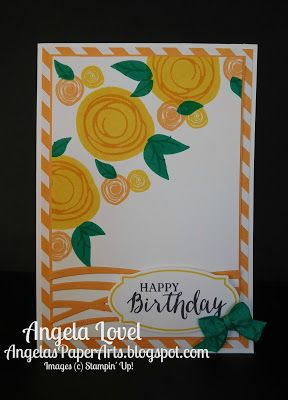 Swirly birthday card featuring Stampin' Up!'s Swirly Bird and Rose Wonder stamp sets and Swirly Scribbles and Rose Garden thinlets available from my online store: http://www3.stampinup.com/ECWeb/ProductDetails.aspx?productID=142353&dbwsdemoid=4011749 #angelaspaperarts
