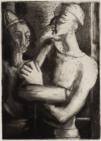 By Michael Ayrton (1921-1975), 1939, Au Cirque, Etching and aquatint on paper.