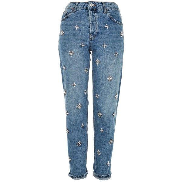 Topshop Moto Gemstone Hayden Boyfriend Jeans (275 BRL) ❤ liked on Polyvore featuring jeans, bleach, bleached blue jeans, boyfriend jeans, rolled jeans, blue boyfriend jeans and bleached jeans