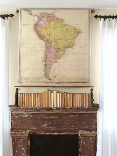 40 Cozy Country Ideas For Your Fireplace Vintage Maps