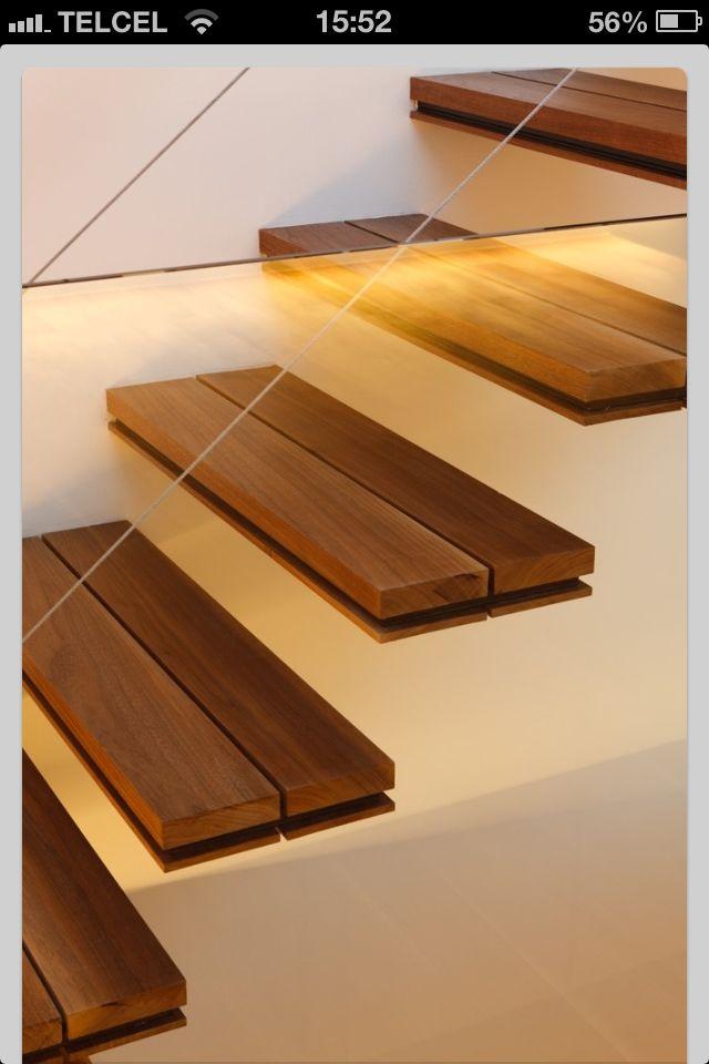 Escalera volada madera SALA Gradas Pinterest Escaleras