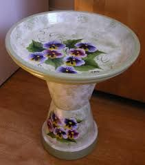 Image result for painted concrete bird baths