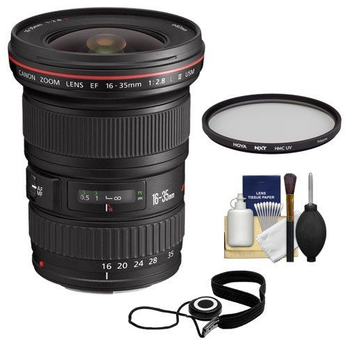 Canon EF 16-35mm f/2.8 L II USM Zoom Lens + Hoya UV Filter + Kit for EOS 6D, 70D, 7D, 5DS, 5D Mark II III, Rebel T3, T3i, T5, T5i, T6i, T6s, SL1. KIT INCLUDES 4 PRODUCTS -- All BRAND NEW Items with all Manufacturer-supplied Accessories + Full USA Warranties:. [1] Canon EF 16-35mm f/2.8 L II USM Zoom Lens +. [2] Hoya 82mm NXT HMC UV Filter +. [3] PD 6pc Complete Cleaning Kit +. [4] CapKeeper 2.