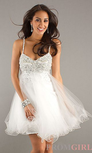 Short White Prom Dress by Dave and Johnny at PromGirl.com