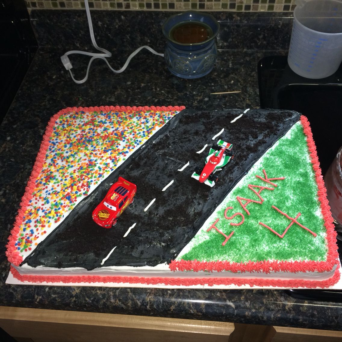 Cars cake for Isaak's 4th