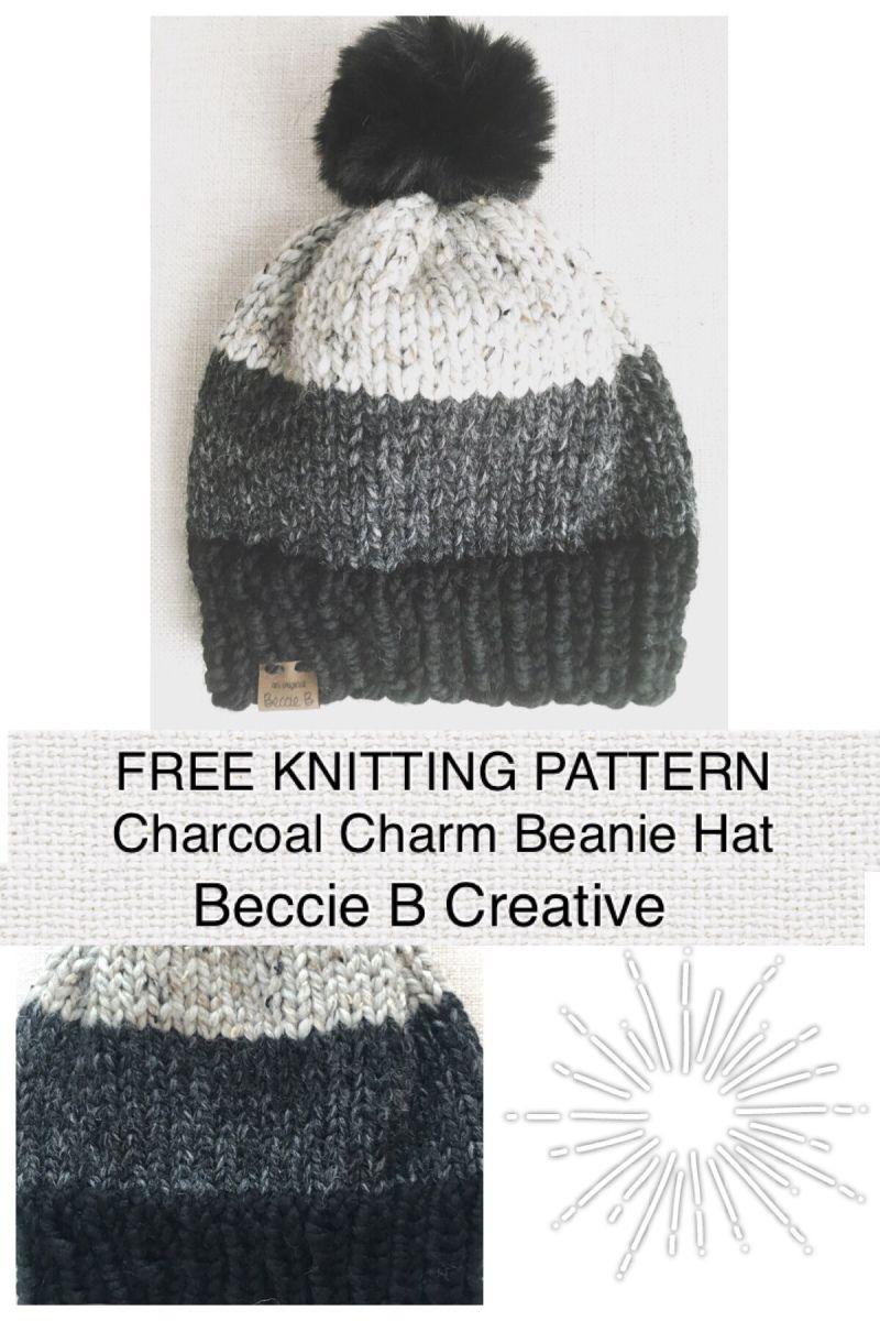 Free Knitting Pattern: Charcoal Charm Classic Beanie Hat