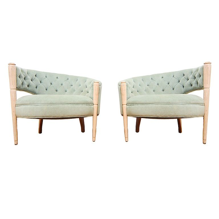 Pair Asymmetrical Hollywood Glamour Regency Lounge Chairs