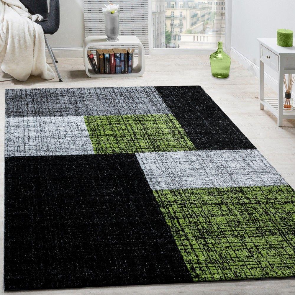 Designer Teppich Modern Kurzflor Karos Und Rechtecke Meliert Grau Schwarz Grn Wohn Schlafbereich Teppiche
