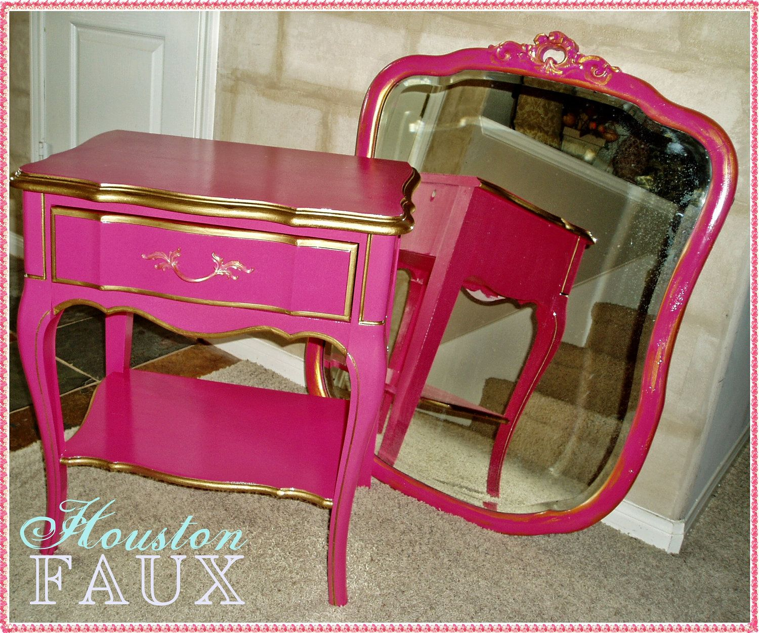 Victoriau0027s Secret Inspired French Provincial PINK Nightstand Side Table.  $195.00, Via Etsy.