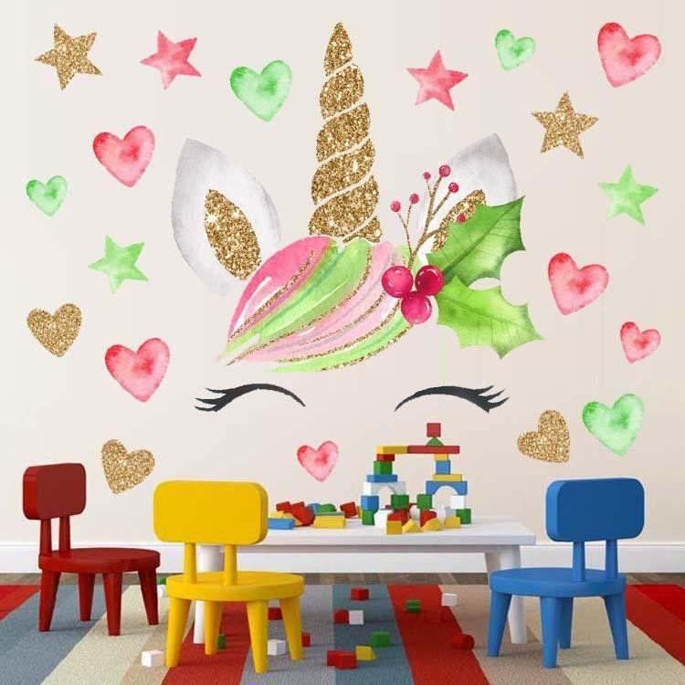 Wall Decoration For Baby Room Luxury 1pcs 28cm X 28cm Children Cartoon Unicorn Wall Sticker Baby Pvc Removable Wat Dekorasi Dinding Kamar Tidur Dekorasi Dinding Pink luxury unicorn room kamar