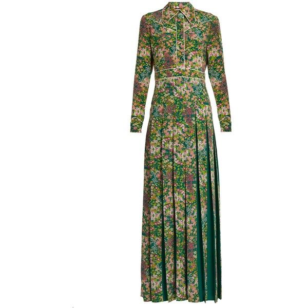 Gucci Pleated Fl Print Silk Crepe De Chine Dress 4 200 Liked On Polyvore Featuring Dresses Green Multi Maxi White