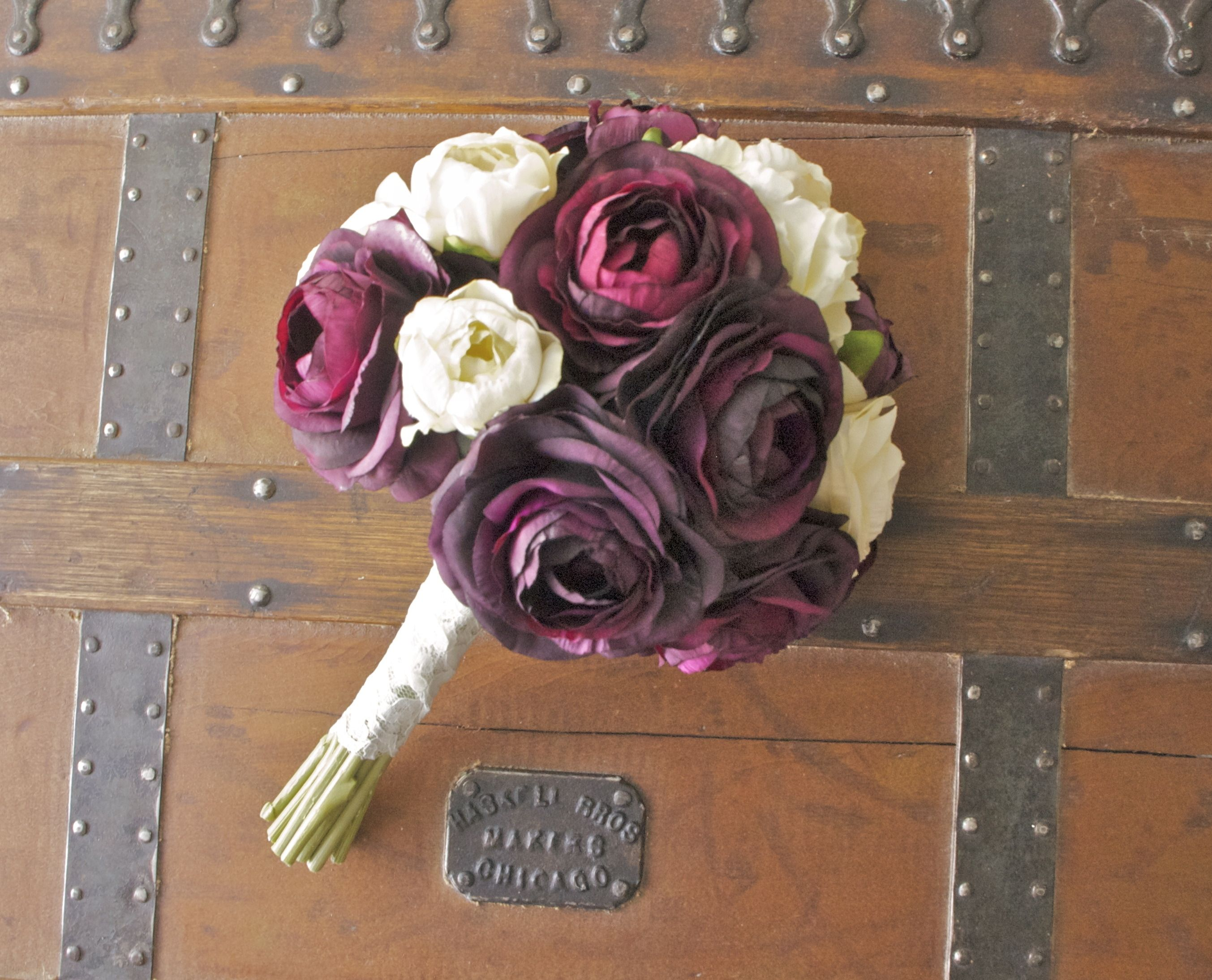 Cream peony purple ranunculus not roses i know you wedding