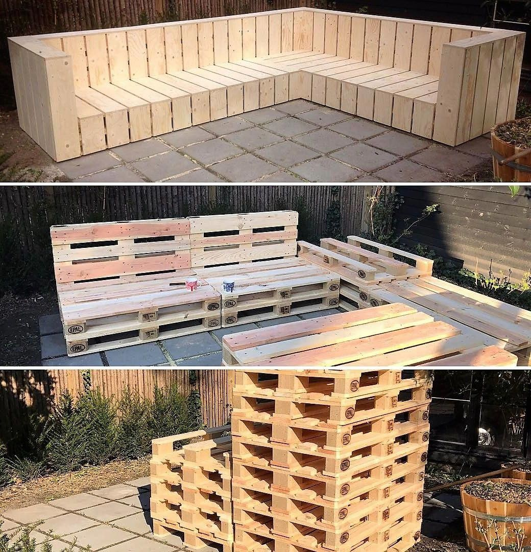 Diy Wooden Pallets Garden L Shaped Couch #