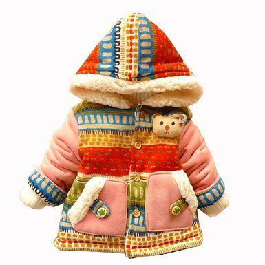 Cute Baby Girl 3D Gown Kids Bear Bohemia Pocket Winter Warm Jacket Outwears Coat
