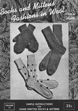 Socks Mittens For Men Women Children Vintage Knitting Patterns