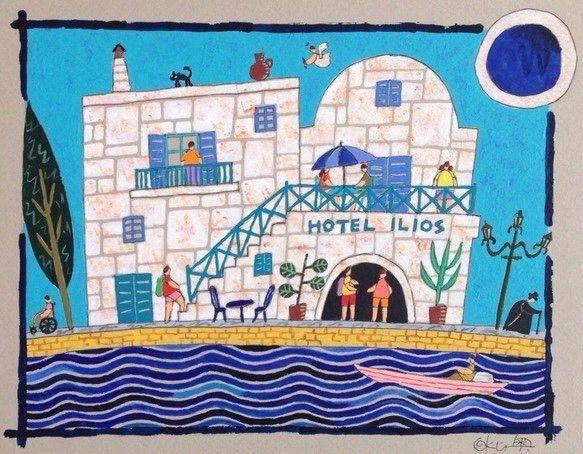 ギリシャ、エーゲ海に浮かぶパロス島。港に面した小さなホテルをイメージして描きました。青い空と海に真っ白な壁がよく映えます。空には天使が舞っています。右上の目玉...|ハンドメイド、手作り、手仕事品の通販・販売・購入ならCreema。