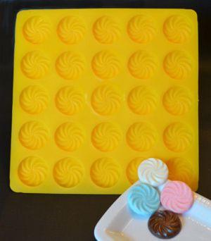 Swirl Flat Flexible Yellow Rubber Candy Mold Cream Cheese Mint Molds Hard Candy Molds Cream Cheese Mints