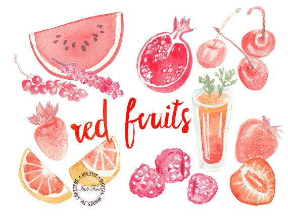 Red Watercolour Fruits clipart. Watercolor clip art by InkFive
