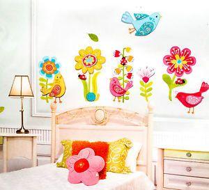 Cool Wandtattoo Wandsticker Dekosticker Kinderzimmer V gel bunt Blumen I eBay