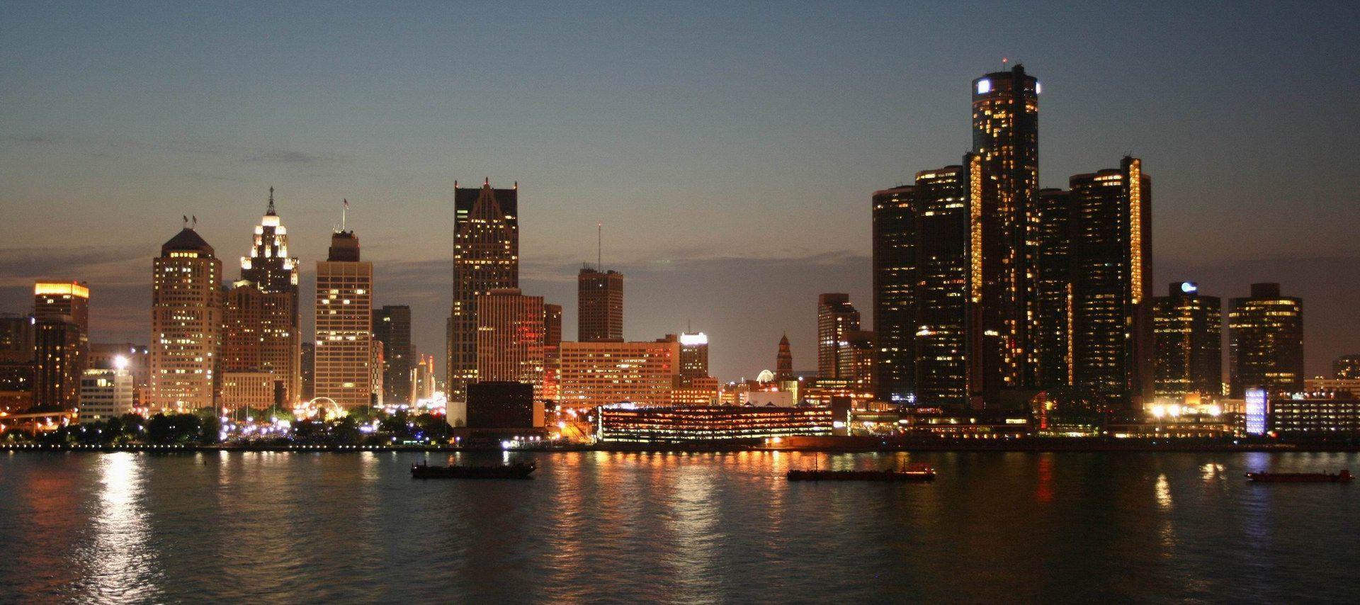 Nighttime Skyline Detroit Skyline Detroit Michigan Skyline
