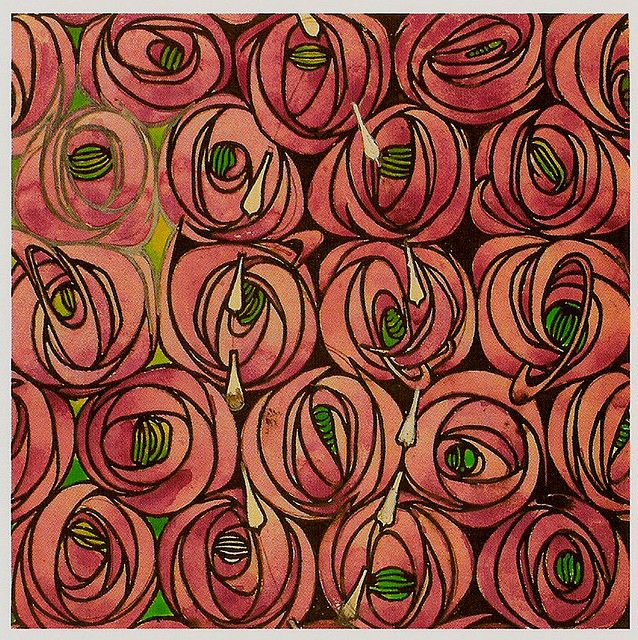 MACKINTOSH ROSE AND TEARDROP DESIGN (1915/23 design) POSTCARD. Art Nouveau