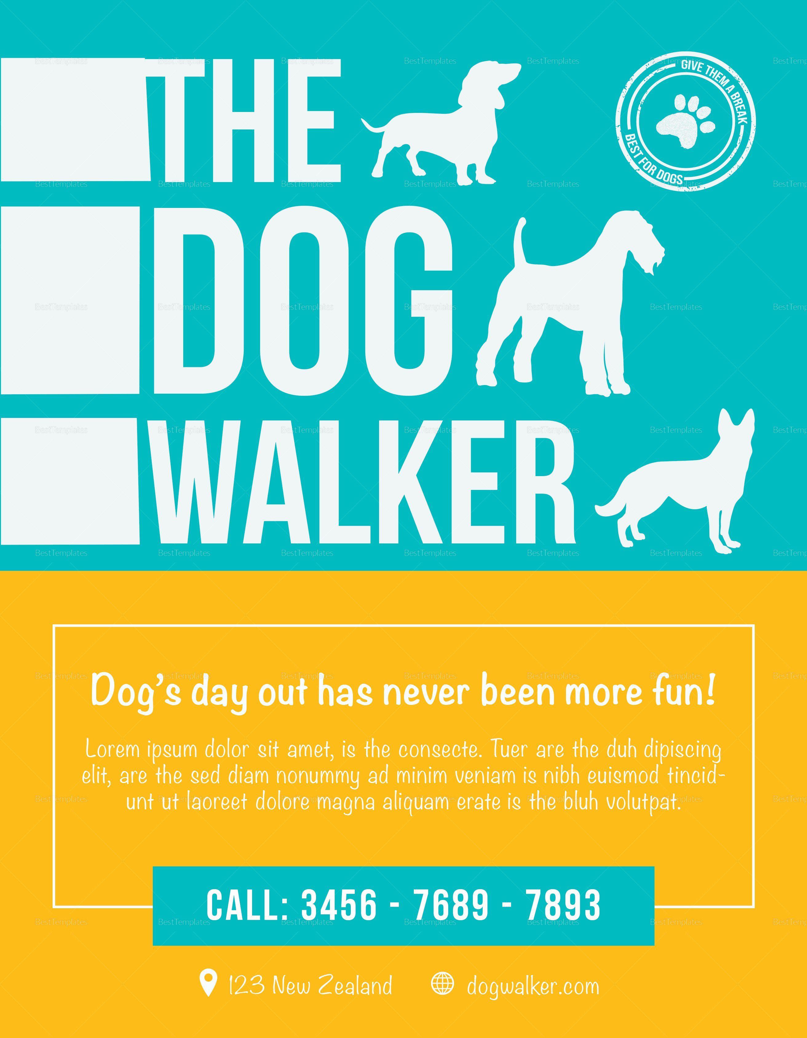 Dog Walking Flyer Template Beautiful Dog Walker Flyer Design Template In Psd Word Publisher Dog Walking Flyer Dog Walker Flyer Flyer Template