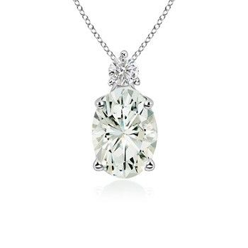 Angara Round Moissanite Solitaire Necklace in White Gold f1dVpmI