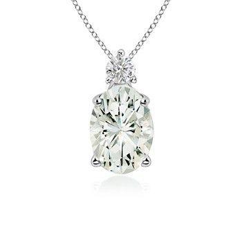 Angara Moissanite Necklace Pendant in Platinum XxCn8KT
